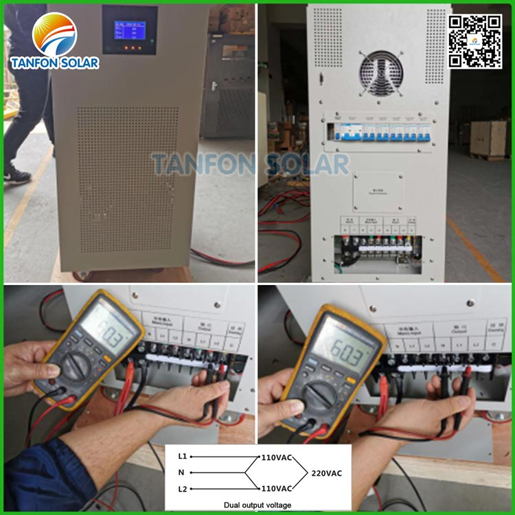 How to connect Dual output solar inverter