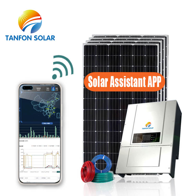 residential three phase solar system with an on grid inverter to power