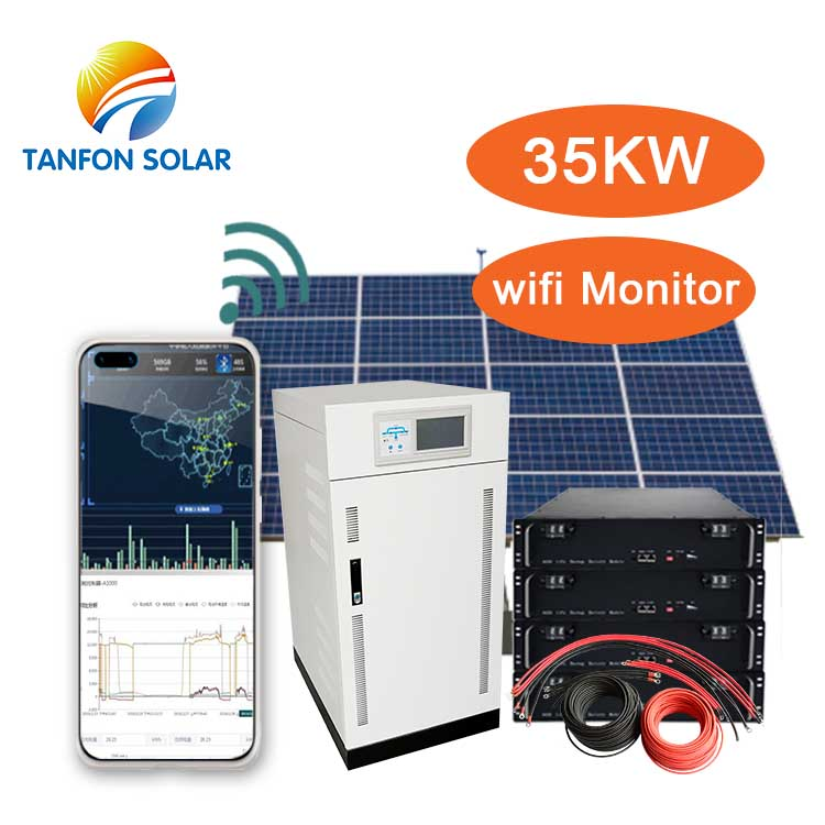 35KW solar hybrid system 3 phase output 220/380 Volts with batteries