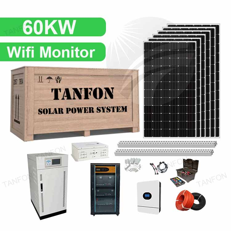 3 phase Hybrid Solar powered generator 60kw Solar Panel System Electricity